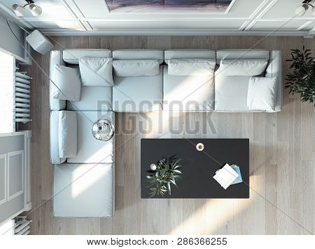 Bright Living Room Interior With Big Window And White Couch. 3d Rendering.
