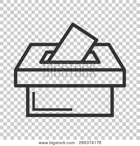 Election Voter Box Icon In Flat Style. Ballot Suggestion Vector Illustration On Isolated Background.