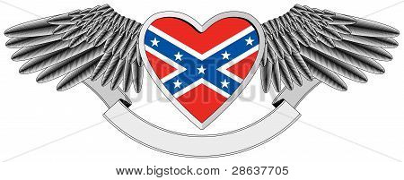 winged heart with Flag of the Confederacy