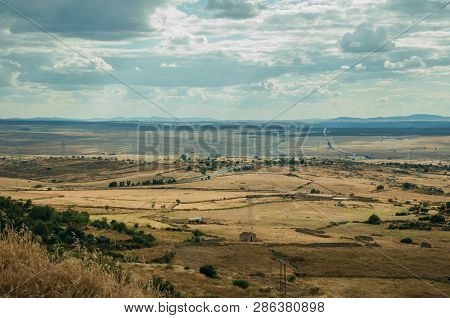 Rural Landscape Of Cultivated Fields And Hills Near Trujillo