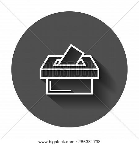 Election voter box icon in flat style. Ballot suggestion vector illustration with long shadow. Election vote business concept. poster