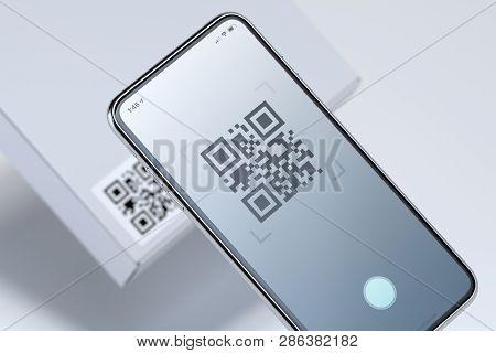 Modern Stylish Mobile Phone Scanning Qr Code On White Box. 3d Rendering.
