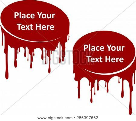 Pair Of Red Dripping Paint Decors With Place For Your Text. Template For Your Design. Current Liquid