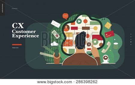 Technology 2-cx Customer Experience - Modern Flat Vector Concept Digital Illustration Of User Or Cus