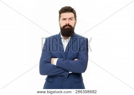 Confident Sales Manager. Bearded Man In Formal Suit. Business Success. Man With Beard. Male Fashion