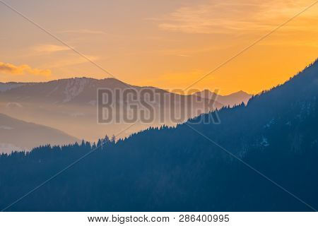 Panoramic View From Village Puergg Over Valley Ennstal To Sunset Over Mountains Gumpeneck And Hangof