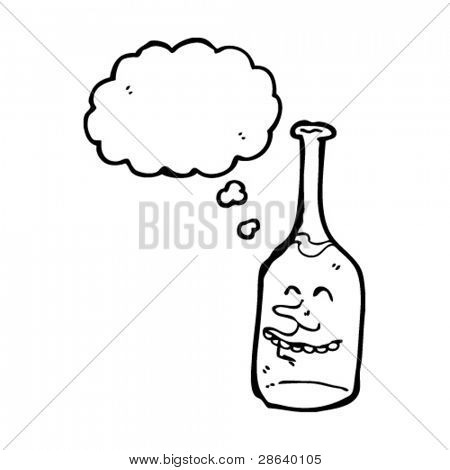happy wine bottle cartoon character with thought bubble