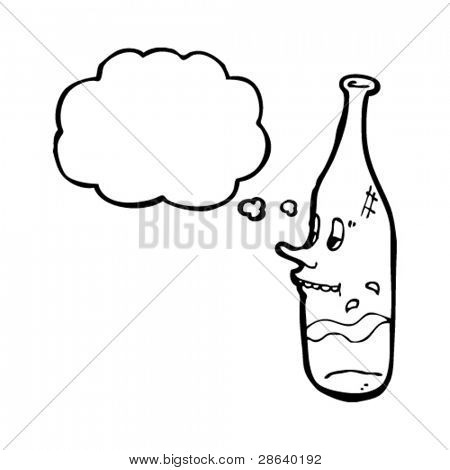 wine bottle cartoon character with thought bubble