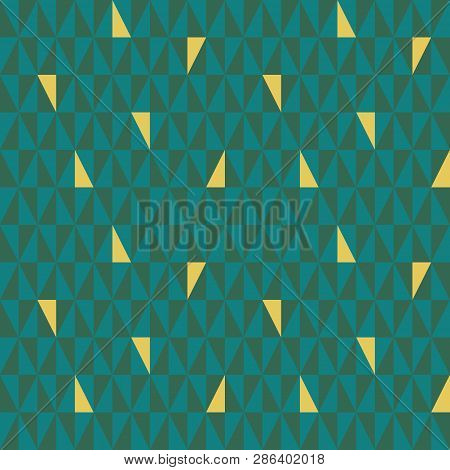 Teal And Green Geometric Triangle Pattern With Random Gold Elements. Seamless Vector Pattern With Ab