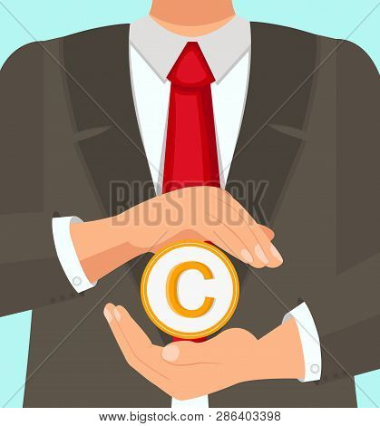 Law Firm Vector Illustration Flat Experienced Lawyer Protects Copyright Use. Provides Advice Fill Ou