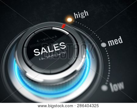 Great Sales concept - sales switch button positioned on maximum. 3d rendering