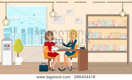 Vector Flat Legal Assistance For Married People. Office Law Firm At Table Sits Lawyer Girl In Busine