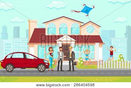 Flat Vector Illustration Consulting Law Firm In Real Estate Matters. Family With Children Thanks Man