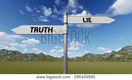 Way Choice Showing Strategy,  Truth Lie, 3d Rendering