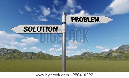 Way Choice Showing Strategy, Solution Problem,  3d Rendering