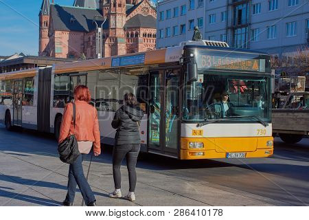 Mainz, Germany On Feb, 25 - 2019: Bus Line 63 Drives On The Road In Mainz City. A Bus Of The Mvg, Th