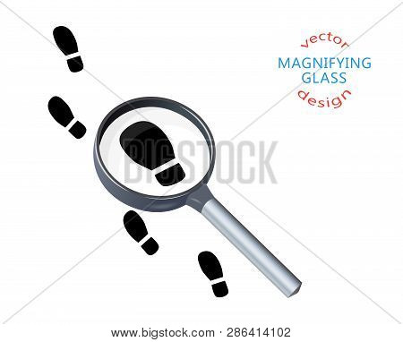 Footprints, Soles, Footsteps On The Trail, Magnifying Glass, Silhouette. Vector Illustration Of Sear