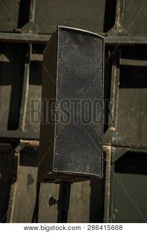 Black Speaker At The Roman Theater Of Merida