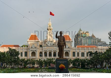 Ho Chi Minh City, Vietnam - August 25, 2017: Ho Chi Minh City Hall With Ho Chi Minh Monument In Viet