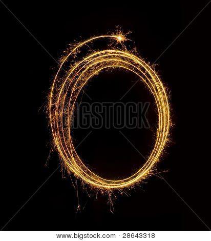 Sparkling Fireworks On A Black Background
