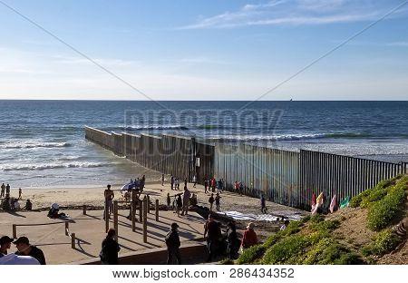 Tijuana, B.c., Mexico, February 24, 2019 - Border Wall Between Mexico And The U.s.a. At Playas De Ti