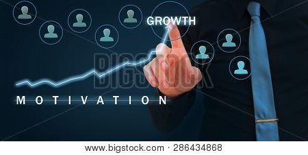 Confident Leader, Ceo And Leadership Concept. Motivation And Team Work Concept- Businessman Pointing
