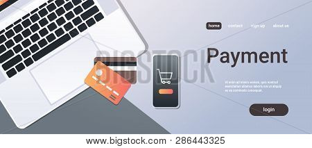 Online Shopping Mobile Application Internet Payment Concept Top Angle View Desktop Smartphone Laptop