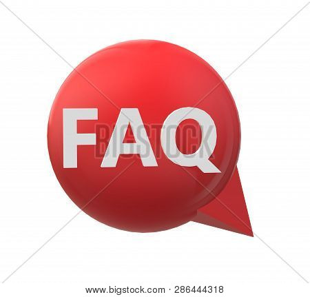 3d Red Faq Icon On White Background. Flat Style. 3d Faq Icon For Your Web Site Design, Logo, App, Ui