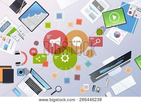 Social Media Digital Marketing Concept Top Angle View Workplace Desktop Office Stuff Horizontal