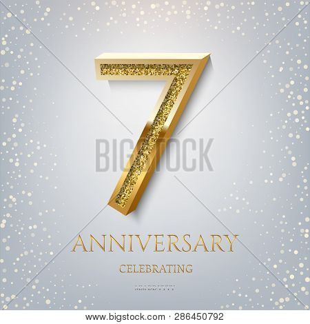 7th Anniversary Celebrating Golden Text And Confetti On Light Blue Background. Vector Celebration 7