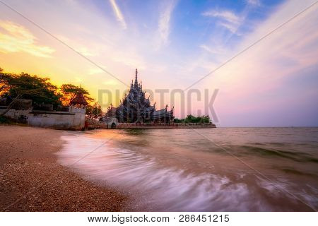 Beautiful View Of The Sanctuary Of Truth On The Seashore In Pattaya, Thailand.