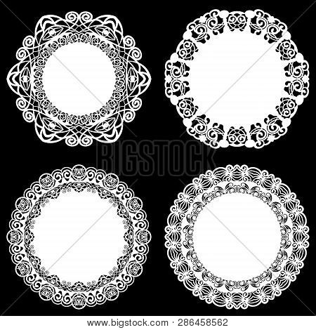 Set Of Design Elements, Lace Round Paper Doily, Doily To Decorate The Cake, Template For Cutting, Sn
