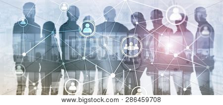 Website Header Banner. Double Exposure People Network Structure Hr - Human Resources Management And