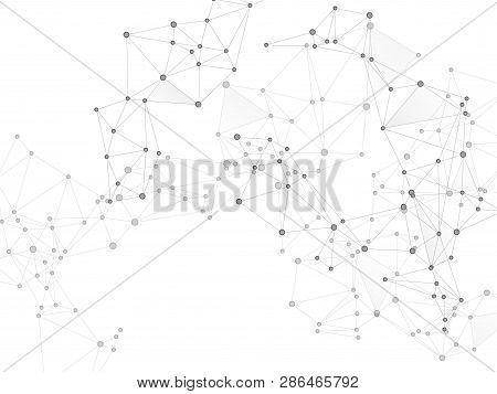 Block Chain Global Network Technology Concept. Network Nodes Greyscale Plexus Background. Circle Nod