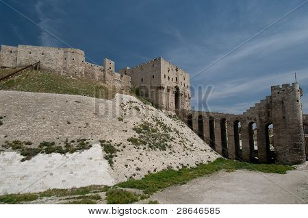 side view of the great Aleppo citadel poster