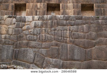Stone wall with windows Inca style