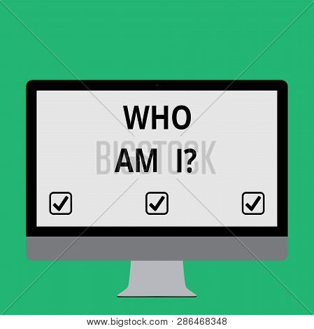 Handwriting text Who Am I. Concept meaning Introduce Identify yourself demonstratingality likes dislikes profile. poster
