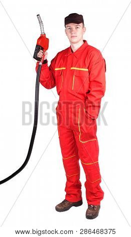Man gas station staff  is holding red gasoline pistol pump fuel nozzle