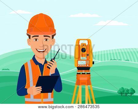 Surveyor, Cadastral Engineer, Cartographer, Cartoon Smile Character, Theodolite, Total Station, Surv