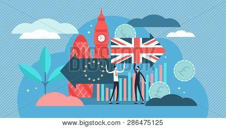 Brexit Vector Illustration. Flat Tiny Uk Leaving Eu Referendum Persons Concept. Britain Exit Europea