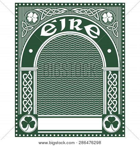 Irish Celtic Design, Celtic-style Clover, Illustration On The Theme Of St. Patricks Day Celebration