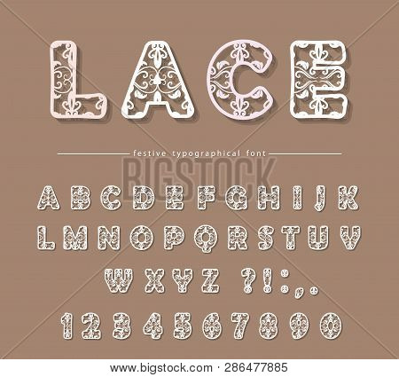 Paper cut out filigree decorative font. Laser cutting. Lacy ornate ABC letters and numbers. For wedding design. Vector poster
