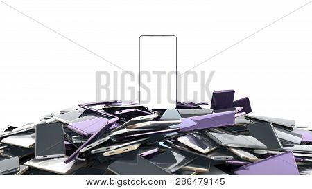 Concept Of Flagman Model Modern Full Screen Smart Phones Random Color 3d Render On White