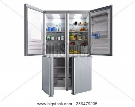 Open Stainless Steel Modern Refrigerator On White 3d Illustration No Shadow