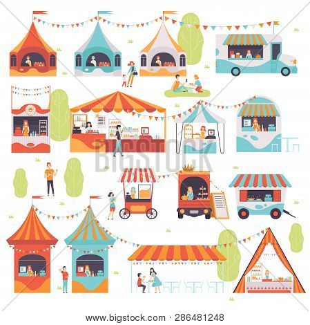 Street Food Set, Sellers Selling Food At Cafe, Kiosk, Booth, Food Truck And Cart Vector Illustration