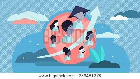 World Population Growth Vector Illustration. Flat Tiny Person Count Concept. Total Global Human Stat
