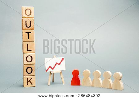 Wooden Blocks With The Word Outlook, Business Schedule And A Team With A Leader. Successful Forecast