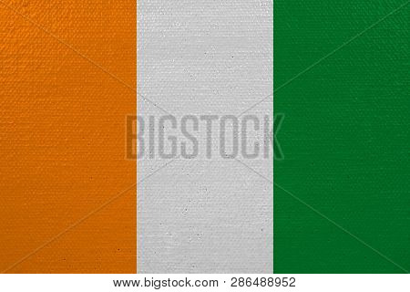 Cote D'ivoire - Ivory Coast Flag On Canvas