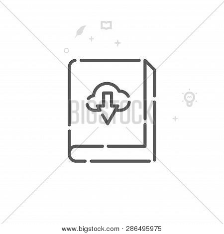 Download Ebook Vector Line Icon. Writing, Authors And Books Symbol, Pictogram, Sign. Light Abstract