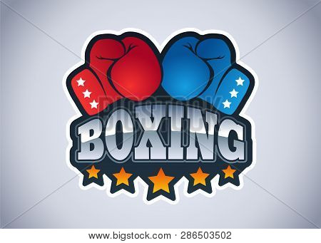 Vector Modern Emblem For A Boxing With Gloves. Sport Logo For Boxing